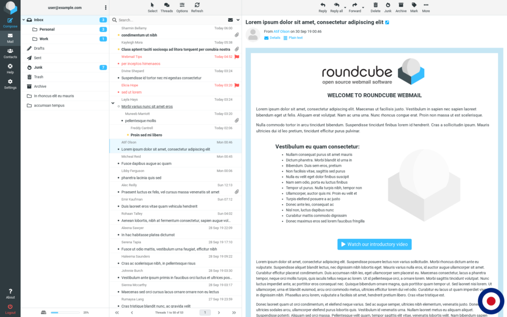Roundcube Dashboard